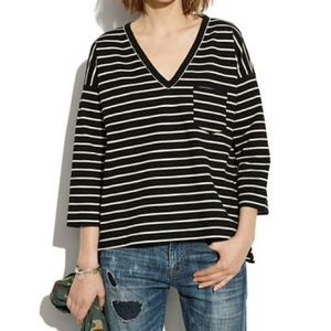 Madewell Black and White Striped Zipper Knit